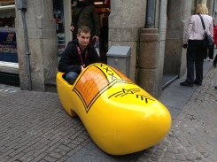 Nick in the clog - this face looks posed but was actually because I was almost hit by a cyclist (who have right of way in Amsterdam) while taking the photo haha