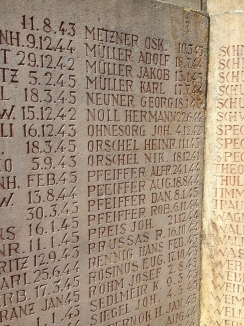 A wall of German casualties from Ramstein in WWII, with many repetitive family names