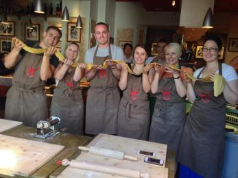 The group with our pasta creation