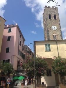 Our apartment was in the pink building to the left of the main town square