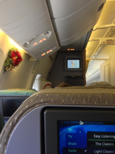 Christmas decorations in the plane - so decorative!