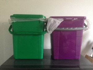 The left is our bio bin and the right is our non-recyclable bin. We transfer to the large cans outside once or twice a week - more often in summer