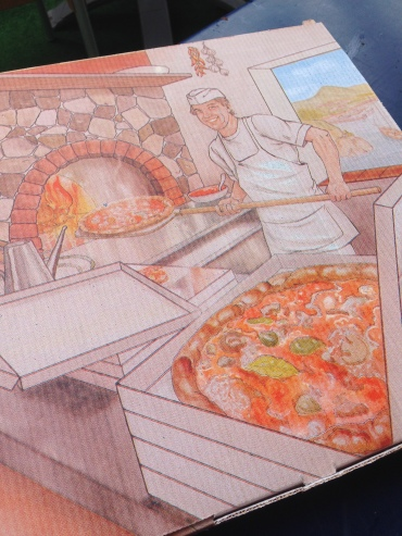 The pizza boxes are the same everywhere, just different 'actors' and background scenes