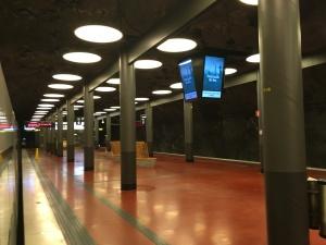 The Arlanda Express stop underground at Stockholm-Arlanda airport